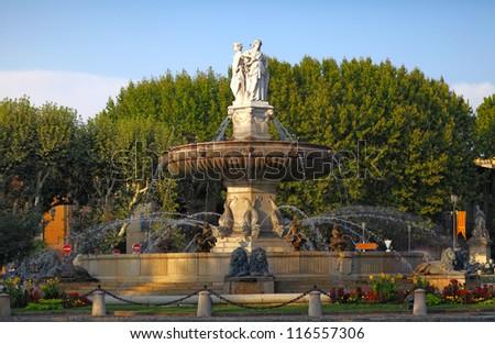 fountain at La Rotonde at sunset, Aix-en-Provence, Provence, Fra - stock photo