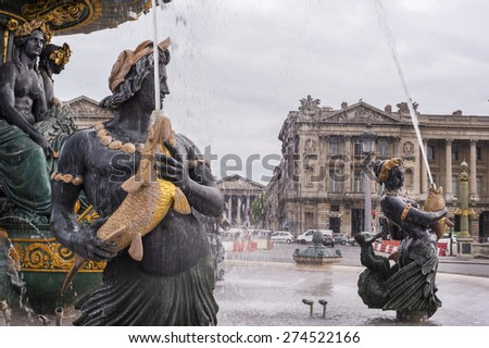 Fountain at Place de la Concorde in Paris - stock photo