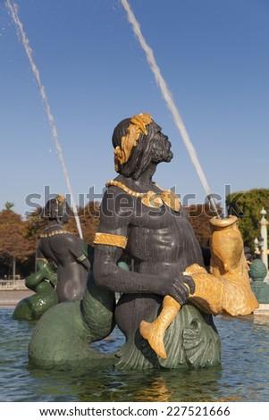 Fountain des Mers, Concorde square, Paris, Ile de France, France - stock photo
