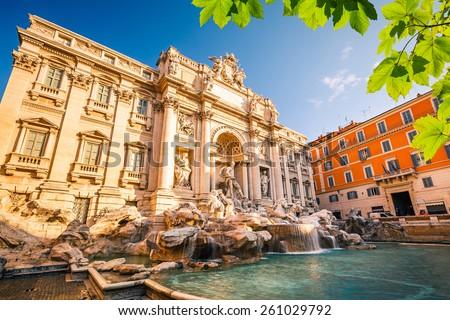Fountain di Trevi in Rome, Italy - stock photo
