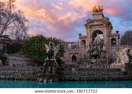 Fountain in a Parc de la Ciutadella, Barcelona - stock photo