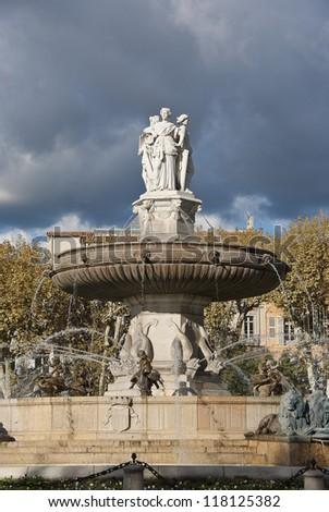 Fountain in Aix-en-Provence - stock photo