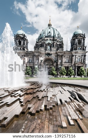 Fountain in front of Berlin Cathedral, or Berliner Dom - stock photo