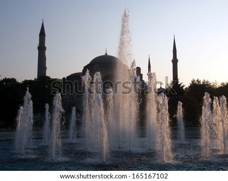 Fountain in front of Hagia Sofia, Istanbul, Turkey - stock photo