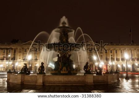 Fountain in night - stock photo
