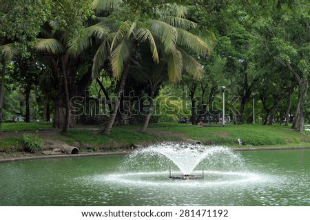 fountain in park - stock photo