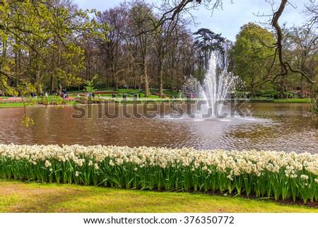 Fountain in the park of Keukenhof in Netherland near Amsterdam - stock photo