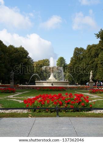 Fountain in the Saski Park in Warsaw, Poland - stock photo