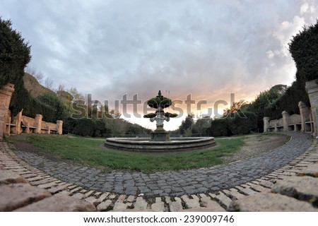 Fountain in Villa Pamphili public park in Rome, Italy - stock photo