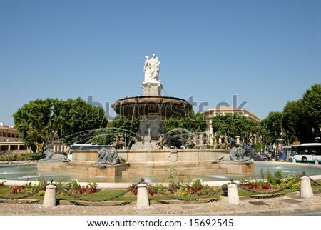 Fountain (La Rotonde) in Aix-en-Provence, southern France - stock photo