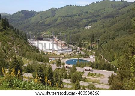 Fountain near highland ice complex MEDEO Almaty, Republic of Kazakhstan - stock photo