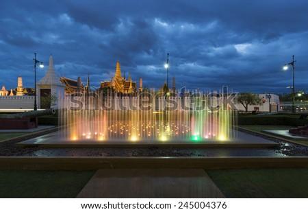 Fountain night light of landmark of Sanam Luang and grand palace, Bangkok, Thailand - stock photo