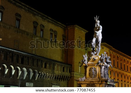 Fountain of Neptune in Bologna, Italy - stock photo