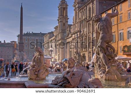 Fountain of Neptune, Piazza Navona, Rome, Italy - stock photo