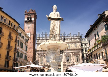 Fountain of our Lady Verona in Piazza delle Erbe in Verona, Italy