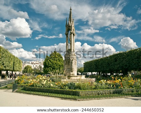 Fountain of the Virgin from Square Jean XXIII in Paris - stock photo