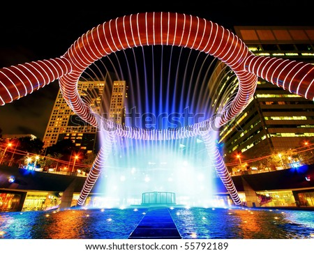 Fountain of Wealth in dusk , landmark of  Singapore night