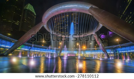 Fountain of wealth is the biggest fountain in Singapore  - stock photo