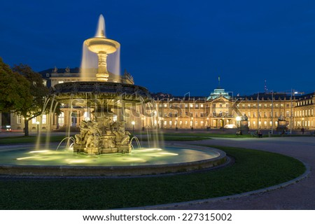Fountain on square Schlossplatz in center of Stuttgart, Germany - stock photo