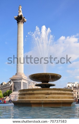 Fountain on Trafalgar square, London - stock photo