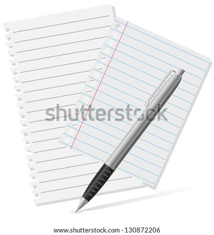 fountain pen and a pieces of paper illustration isolated on white background