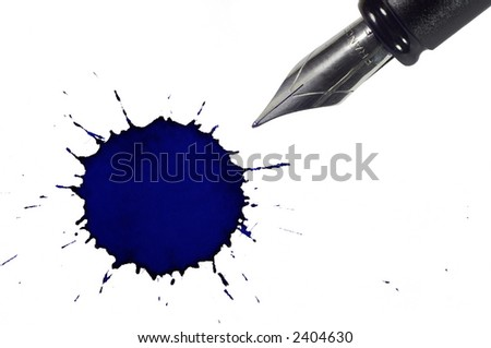 Fountain pen and ink blot below. Isolated on white background - stock photo