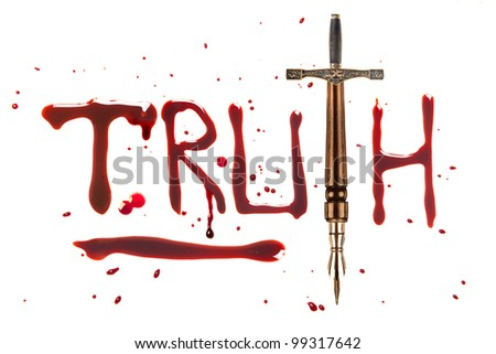Fountain pen and sword and bleeding letters of truth - stock photo