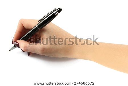 Fountain pen in female hand isolated on white - stock photo