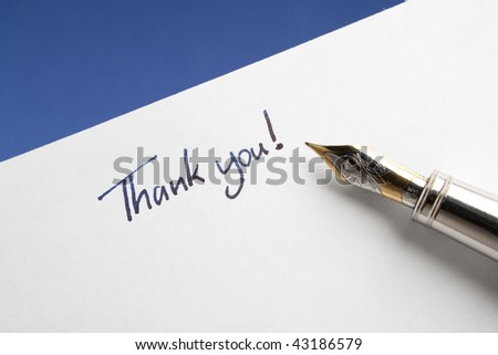 Fountain Pen with Thank You Note - stock photo