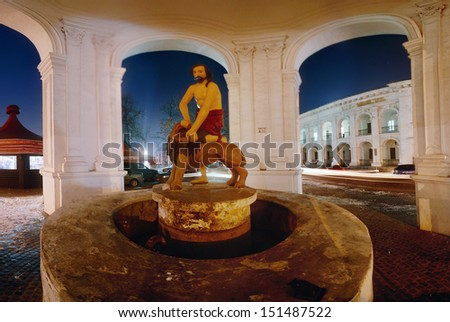 """Fountain """"Samson,"""" sculpture """"Samson tearing the lion's mouth."""" panoramic view from the inside, the evening - stock photo"""