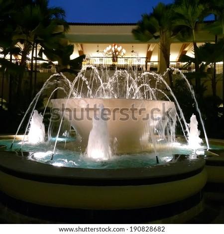 fountain streams in night tropical park - stock photo