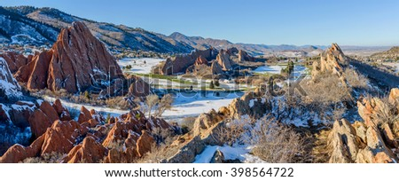 Fountain Valley at Roxborough State Park - A panoramic winter view of red sandstone fountain formations at Fountain Valley, in Roxborough State Park, Southwest of Denver, Colorado, USA. - stock photo