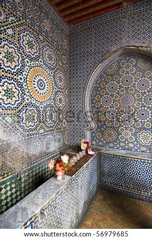 Fountain with ceramic mosaics in the medina of Rabat (Imperial City) Best of Morocco - stock photo