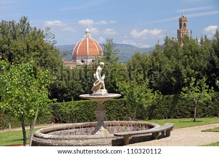 fountain with  Greek hero Ganymede climbing on an eagle, Boboli Garden with view of Florence city, Unesco World Heritage site,Tuscany, Italy, Europe - stock photo