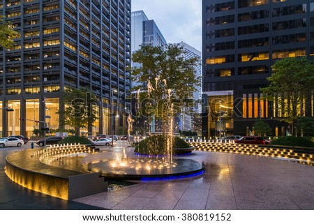 Fountain with lights and illumination in Downtown Houston, Texas - stock photo