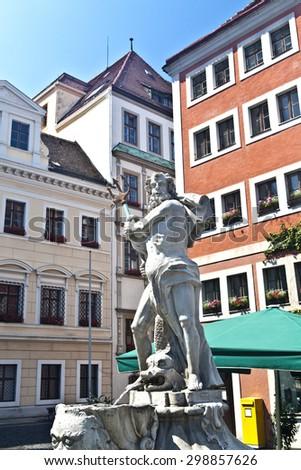 Fountain with statue of Neptune, Neptunbrunnen, in G�¶rlitz / Goerlitz, Germany - stock photo