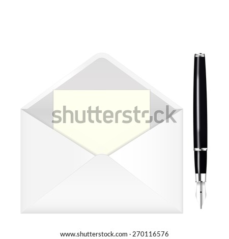 Fountain writing pen and open envelope with paper. isolated on white background. Raster version - stock photo