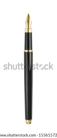 Fountain writing pen. Isolated on white - stock photo