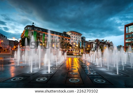 Fountains At Piccadilly Garden In Manchester City Center England