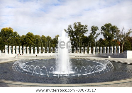 Fountains at the World War II Memorial located in Washington DC. - stock photo
