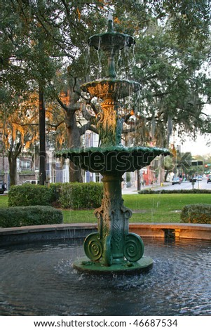 Fountian in a square in Savannah Georgia's historic district. - stock photo