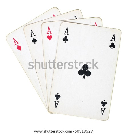 four ace playing cards isolated on white - stock photo