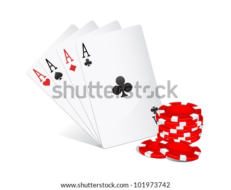Four aces and red poker chips on white background