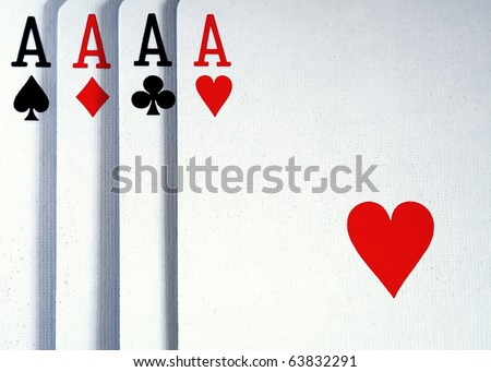 Four Aces from Deck of Cards - stock photo