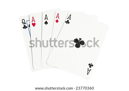 Four Aces, often a winning hand in the game of Poker. Isolated with a clipping path.