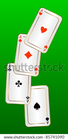 Four aces on a green background. EPS version is available as ID 84311431. - stock photo