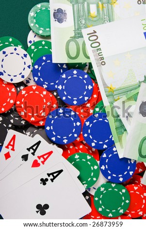 Four aces on casino table - stock photo