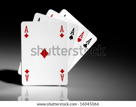 Four aces on isolated background - stock photo