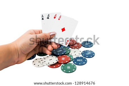 four aces with poker chips on white background - stock photo