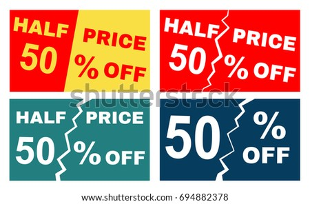 four advertisements leaflets flyers sale sticker with advertising offer illustration with promotional text